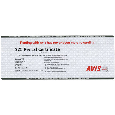 AVIS<sup>&reg;</sup> Rental $25 Gift Card - Use this card to book low rates online and reserve a rental car!