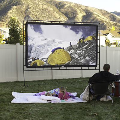 CAMP CHEF<sup>&reg;</sup> O.E.G.™ Outdoor Big Screen - Made of oxford nylon reflective material, this outdoor screen offers 12 feet of viewing pleasure.  Durable free-standing frame also features four tie-down guy lines for increased stability.  Back cover blocks ambient light and can be rolled up for rear projection.  Wide screen 16:9 aspect ratio.  Carry bag included.
