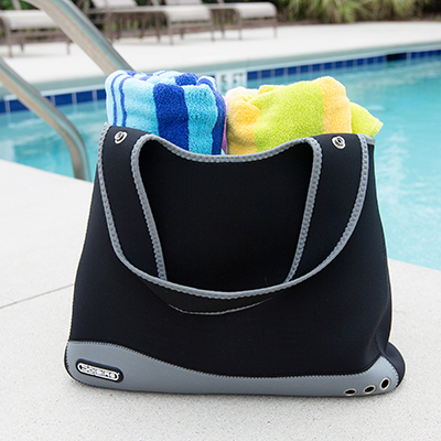 TOPPERS™ Neoprene Tote Bag - This all-purpose, midsize tote bag is made from durable neoprene material and is great for the beach, the park and running errands.  Tote measures 18¼