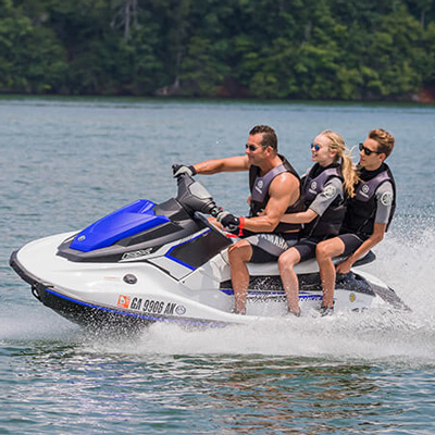 YAMAHA<sup>®</sup>  EX Rec Lite - Shorter in length, lighter in weight, the EX Rec Lite is designed for fun.  Seating 1 - 3 persons, this personal watercraft features a 3-cyclinder, 4-stroke TR-1 Yamaha marine engine, 13.2 gallon fuel capacity, more storage options and measures 10' 3