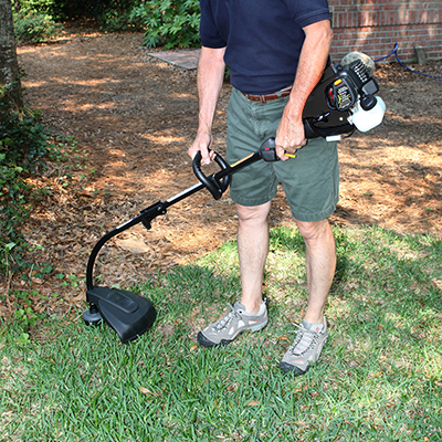 POULANPRO <sup>&reg;</sup> Gas Trimmer - Designed for more demanding residential lawn maintenance, this trimmer is powered by a SureFire 25cc 2-cycle gas engine.  Features include a spring assist start system for effortless pull starting, 16